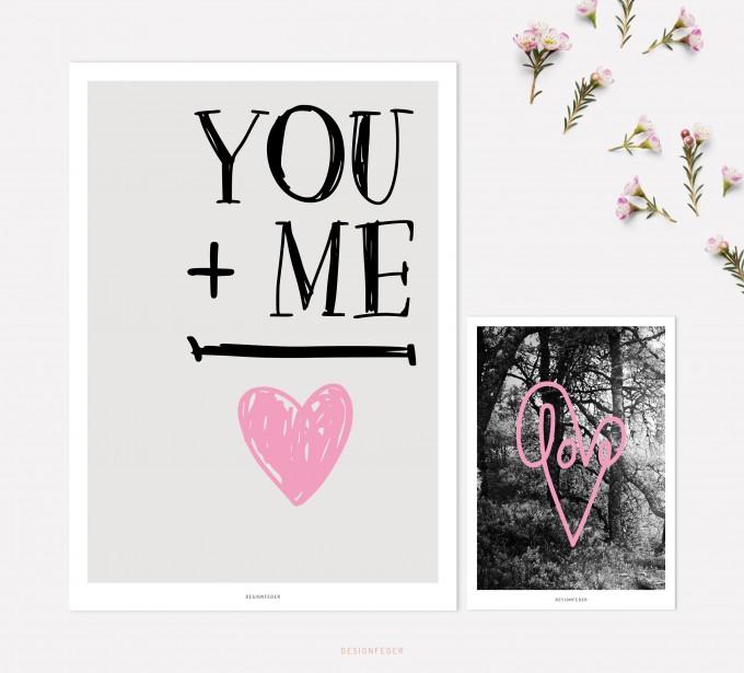 designfeder   Poster & Postkarte Love 2