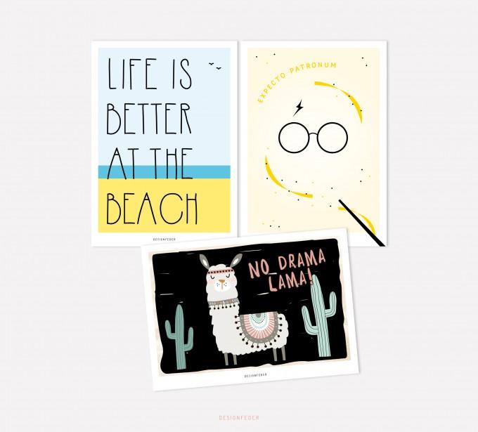 designfeder | Postkarten 3er Set – Beach, Expecto Patronum, No drama lama