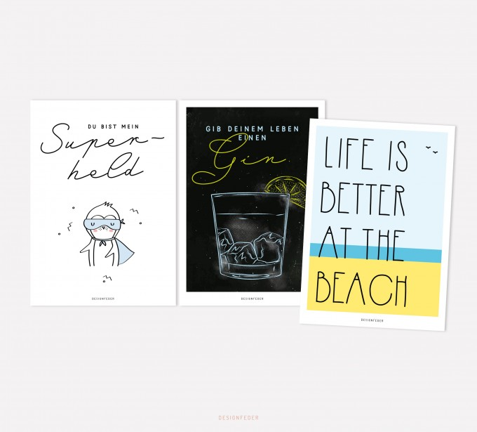 designfeder   Postkarten 3er Set – Superheld, Gin und Beach