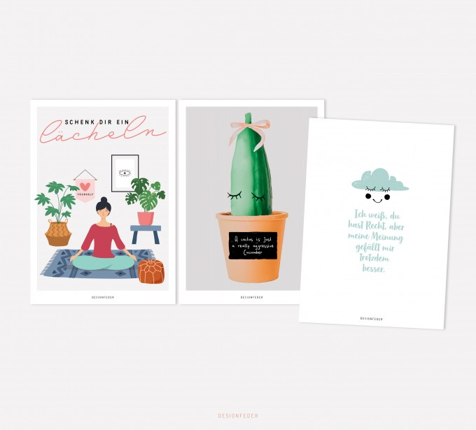 designfeder | Postkarten 3er Set – Yoga, Kaktusliebe und meine Meinung