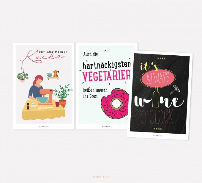 designfeder | Postkarten 3er Set – Küche, Vegetarier und winetime
