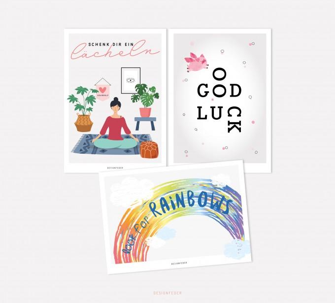 designfeder | Postkarten 3er Set – Yoga, Good luck und Rainbow