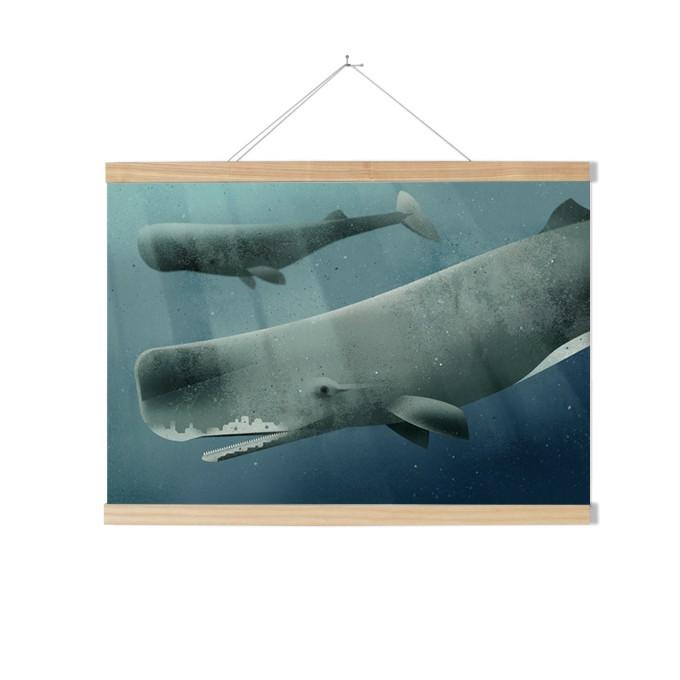 Kleinwaren / von Laufenberg –  Set / Sperm Whale + Posterleiste Esche 70 cm