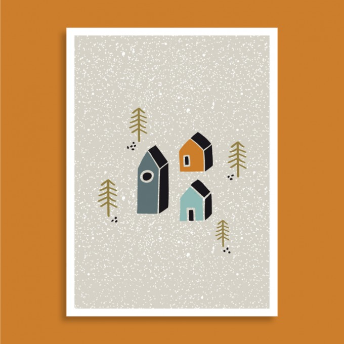 Family Tree Shop / Postkarte / Häuschen