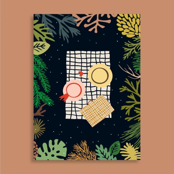 Family Tree Shop / Postkarte / Picknick im Wald