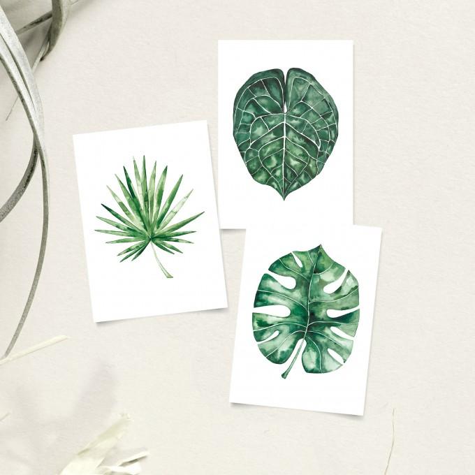 Paperlandscape | Postkarten-Set | Palmblätter Aquarell |  Pflanzen