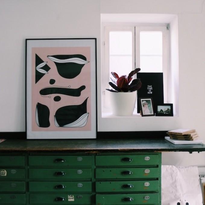 """stahlpink - Grafik """"schwarze Objekte""""-Poster, Fine-Art-Print"""