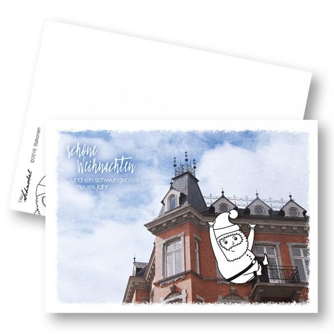 """Frau Schnobel Grafik XMAS Weihnachtspostkarten """"Balkonien"""" // Weihnachtskarte 5er Set"""