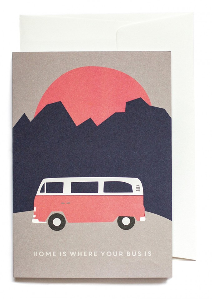 """Home is where your Bus is"" Klappkarte von Roadtyping"