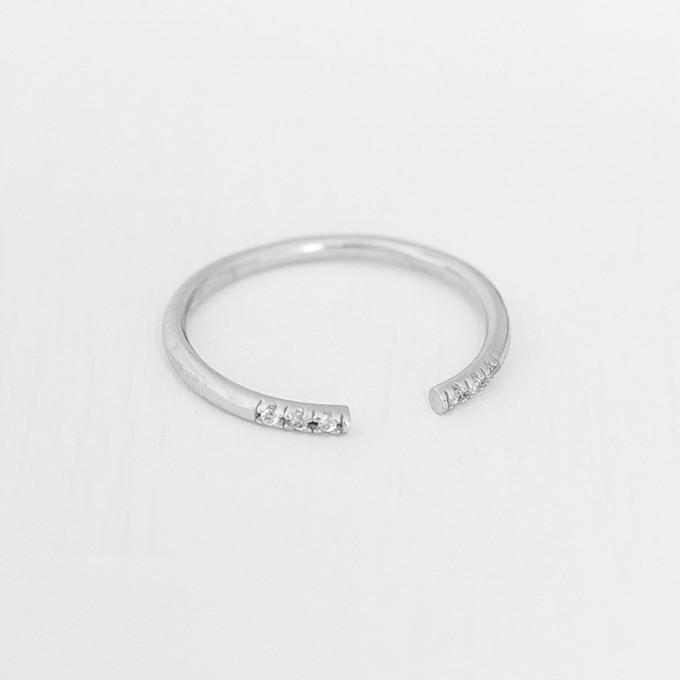 Oh Bracelet Berlin – Stapelring VI offen aus 925 Sterlingsilber weißvergoldet