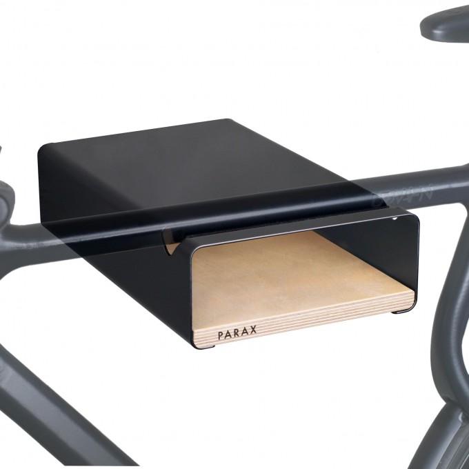 Design Fahrrad-Wandhalterung | PARAX® S-RACK | Schwarz mit Birken Holz | für Rennrad Hardtail & Cityrad