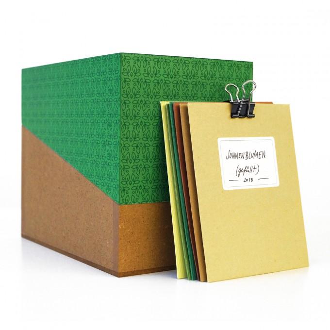 sperlingB – Samentüten-Box, dunkelgrün, Sammelbox mit Samentüten, Geschenk für Gärtner