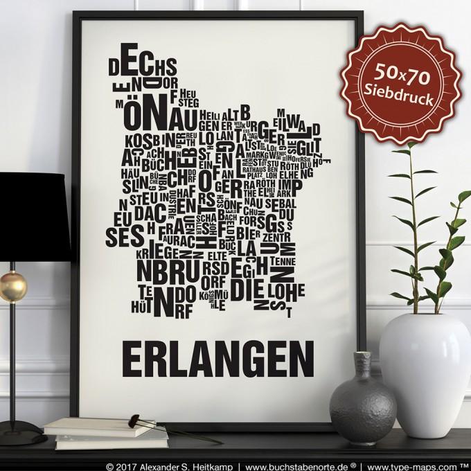 Buchstabenort Erlangen Stadtteile-Poster Typografie