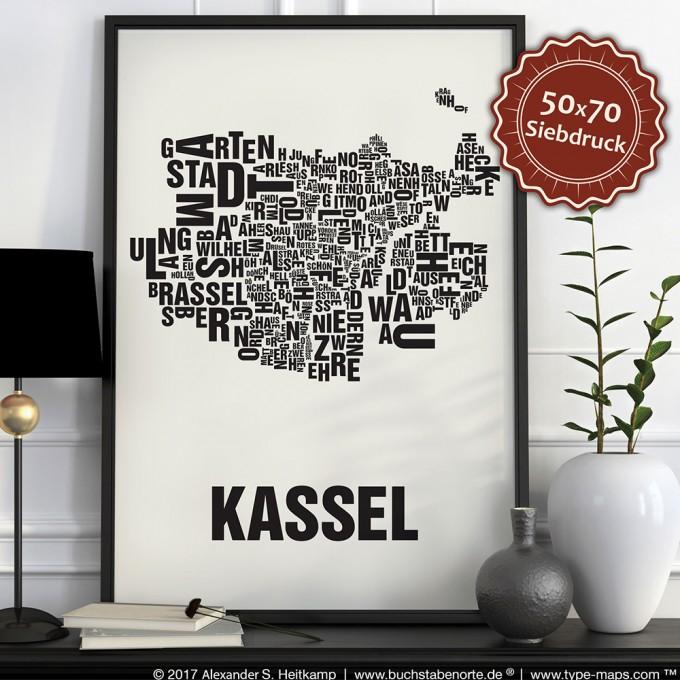 Buchstabenort Kassel Poster Typografie Siebdruck