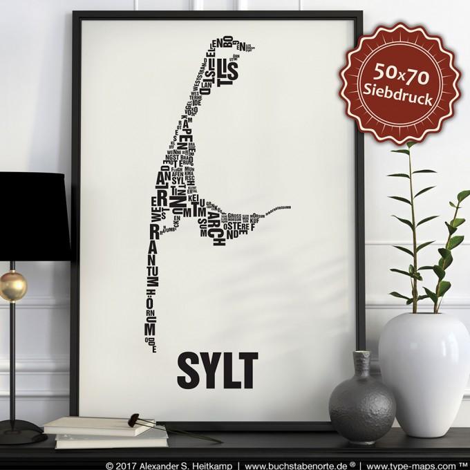 Buchstabenort Sylt Stadtteile-Poster Typografie