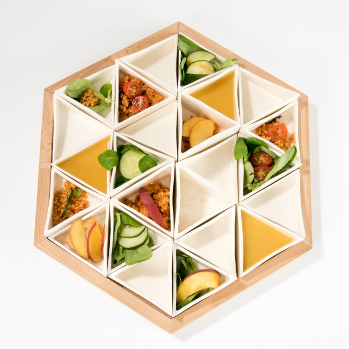Lena Beigel design - Supertaster Schalensystem für Tapas (24 Porzellanschalen)