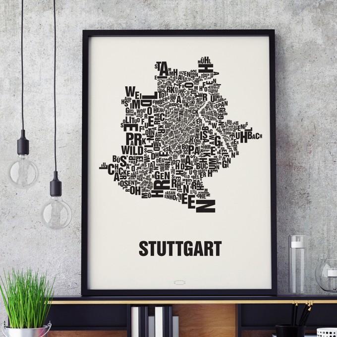 Buchstabenort Stuttgart Stadtteile-Poster Typografie Siebdruck