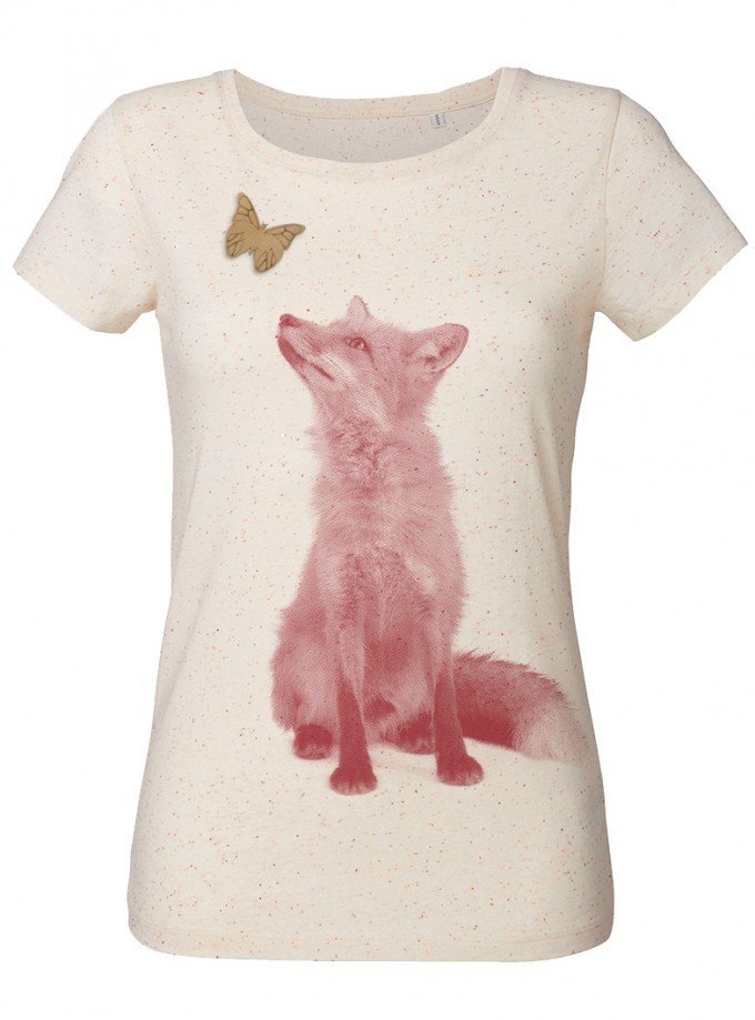 wat? Apparel Fuchs mit Schmetterling - T-Shirt Damen mit Holzbrosche