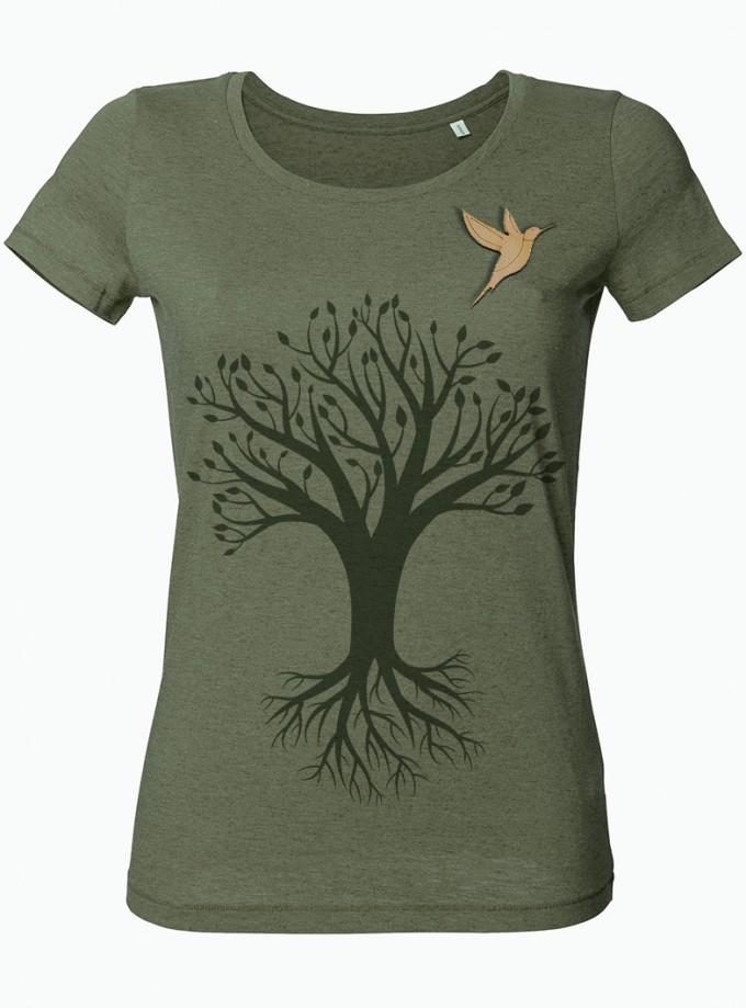 wat? Apparel Baum mit Vogel - T-Shirt Damen mit Holzbrosche