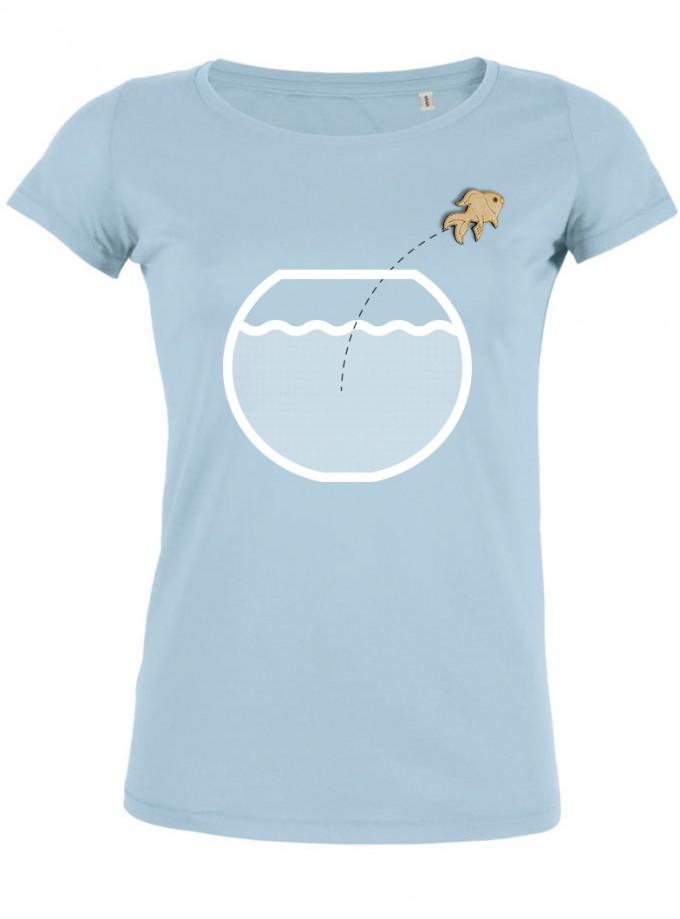 wat? Apparel Aquarium mit Goldfisch - T-Shirt Damen mit Holzbrosche