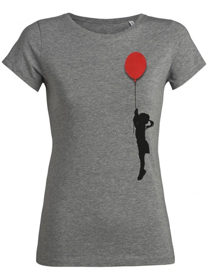wat? Apparel Mädchen mit Luftballon - T-Shirt Damen mit Holzbrosche