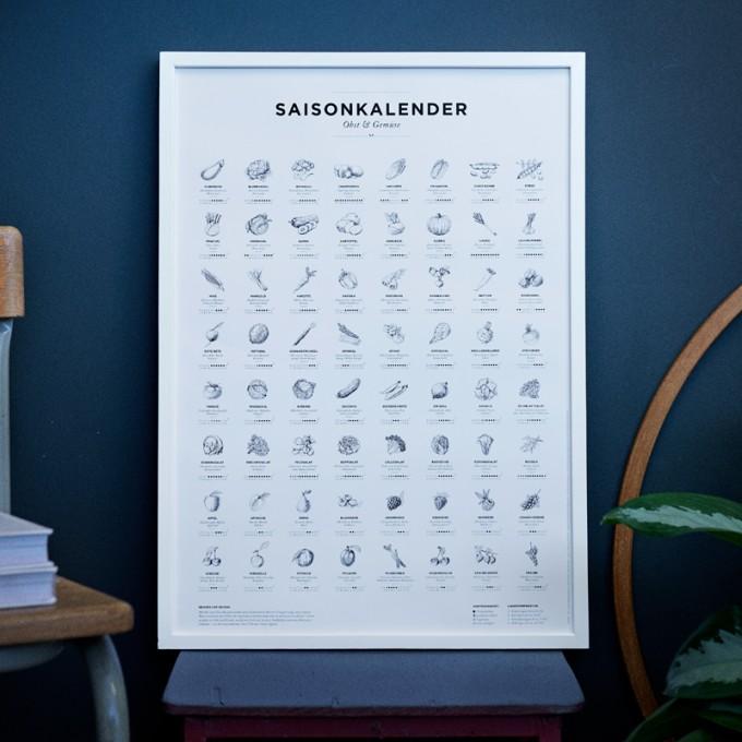 Saisonkalender Obst & Gemüse Poster (erhältlich in Format A1, A2 und A3)