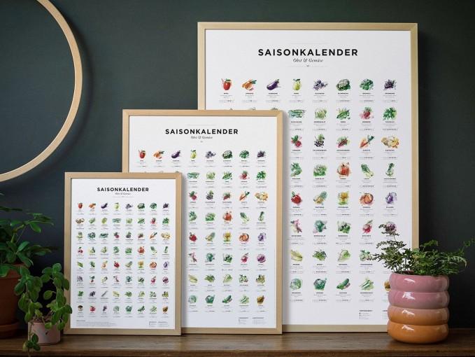 Saisonkalender Obst & Gemüse im Garten, Dekoration Küche, Wandkalender als wall decor, Poster / Plakat in Farbe (ohne Rahmen)