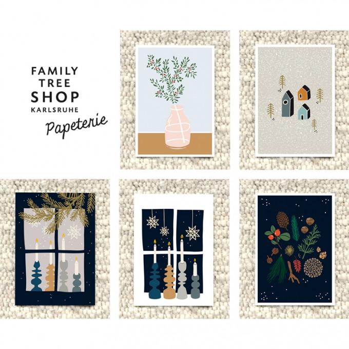 """Family Tree Shop Postkartenset """"Weihnachten auf Skandinavisch"""" / 5 Stück"""