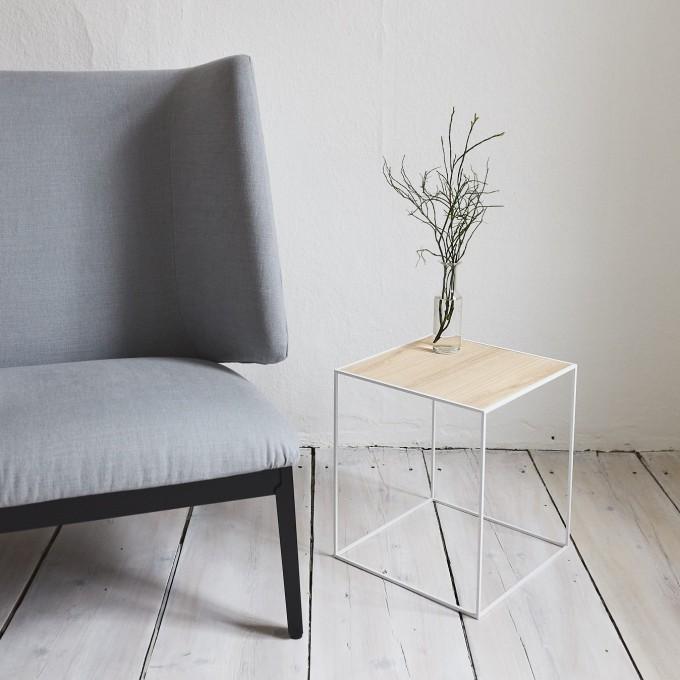 SkanBavaria Wuzzl - Beistelltisch mit Holzplatte (Esche weiß)