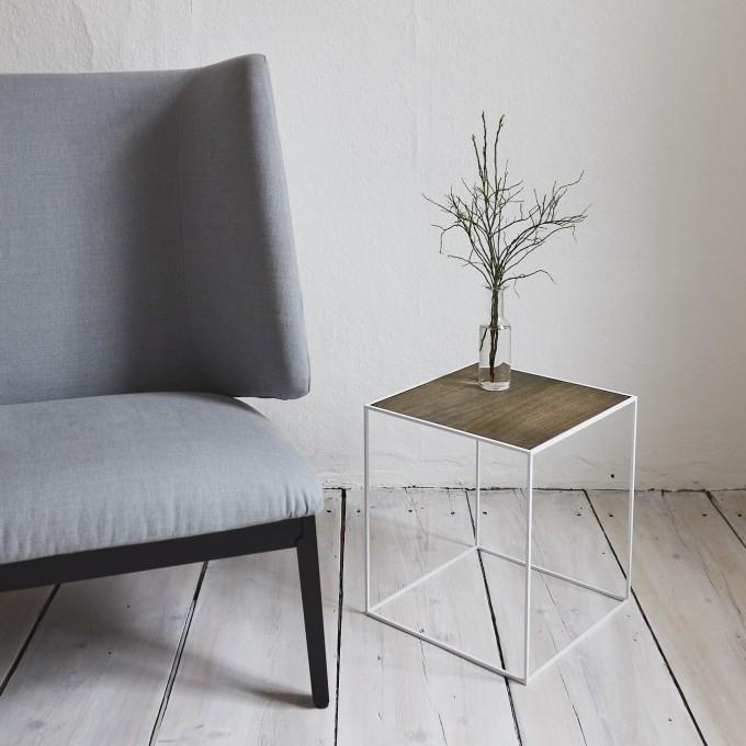 SkanBavaria Wuzzl - Beistelltisch mit Holzplatte (Esche grau/schwarz) - Sonderedition