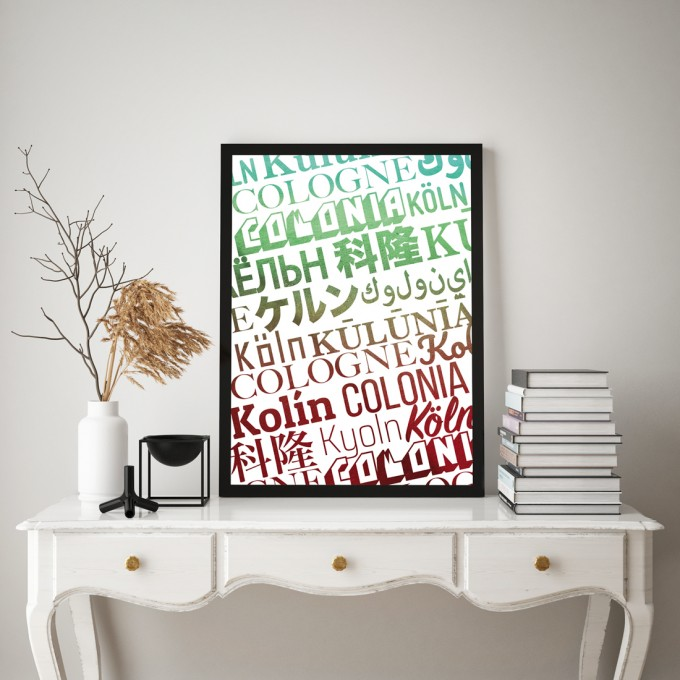 Stadtliebe® | Köln - International Kunstdruck verschiedene Größen DIN A3