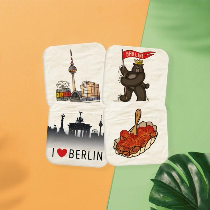 Stadtliebe® | Berlin Bierdeckel Postkarten 4er Set II