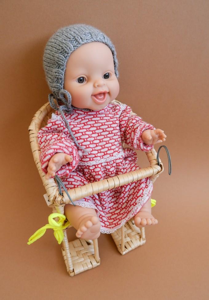 tinyday . Puppenfahrradkorb aus Weide mit Sitzkissen . punkte