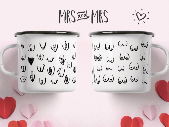 "typealive / Emaillebecher Tasse / Set ""Mrs & Mrs"""