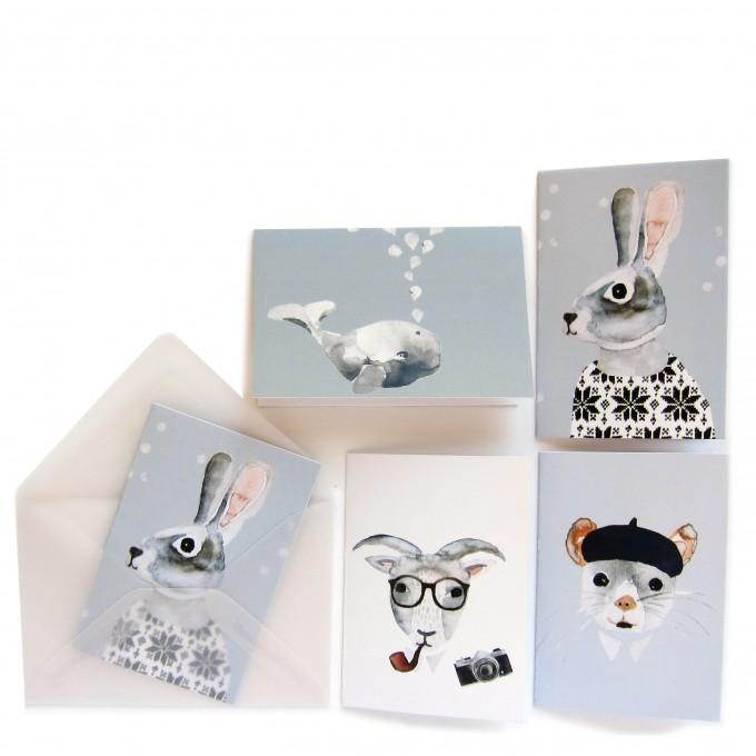nuukk 10 Tiere Mini-Karten mit Umschlag