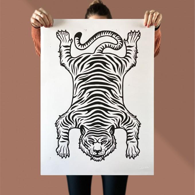 Juliana Fischer - Tiger - Linoldruck, schwarz, 50x70 cm