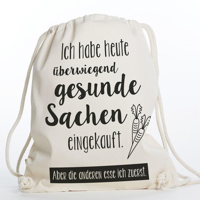 "Frau Schnobel Grafik  Turnbeutel ""Gesund"" Natur"