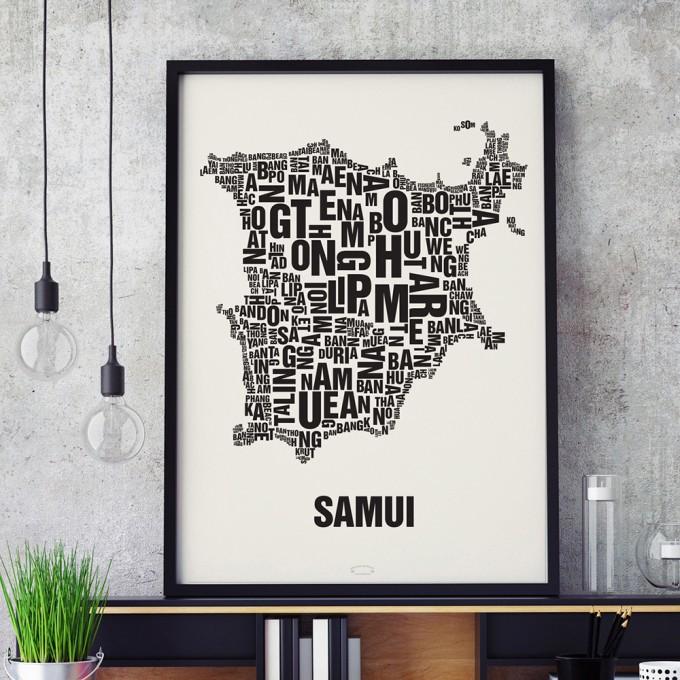 Buchstabenort Samui Poster Typografie Siebdruck