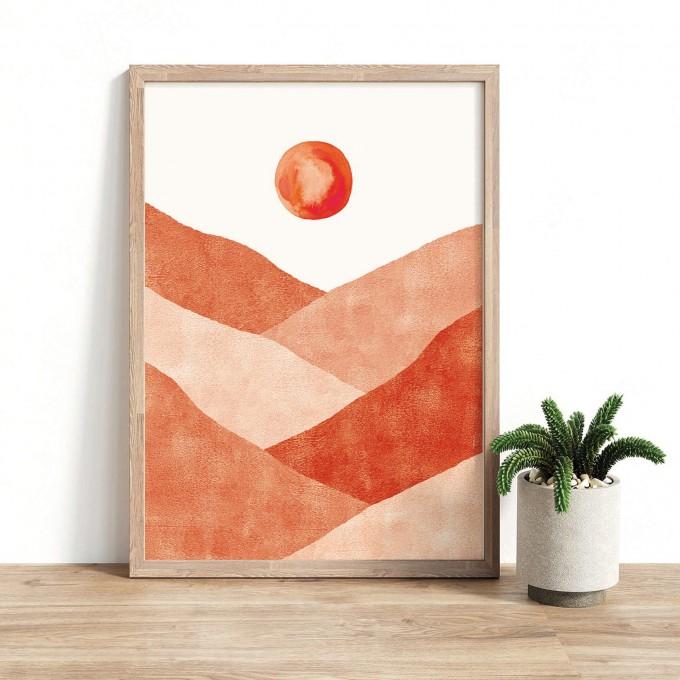 Paperlandscape   Kunstdruck   Landschaftsbild in Terrakotta   Wüste   verschiedene Größen