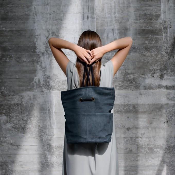 VANOOK - Dual Backpack Leather Navy