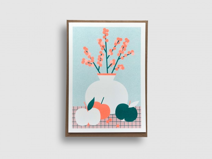 stefanizen – Vase – A5 Klappkarte, Risograph