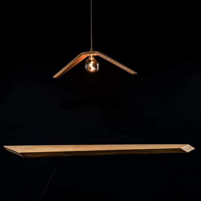 """Deckenleuchte """"Möwe"""" aus Eichenholz mit Glühbirne VORONOI von Verschnitt"""