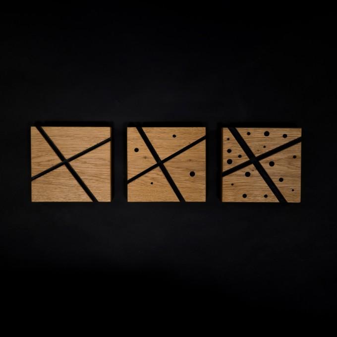 LOST IN SPACE | Wanddekoration aus massivem Eichenholz von Verschnitt