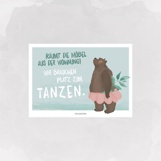 designfeder | Postkarte Tanzbär