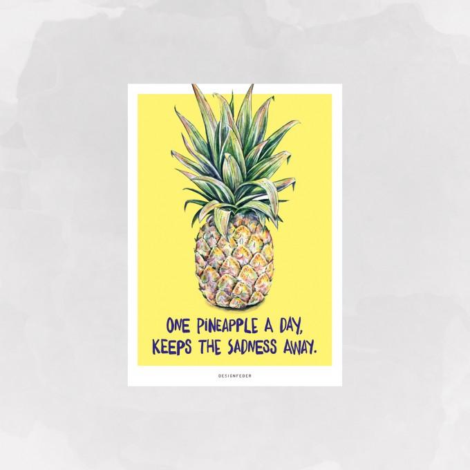 designfeder | Postkarte Ananas