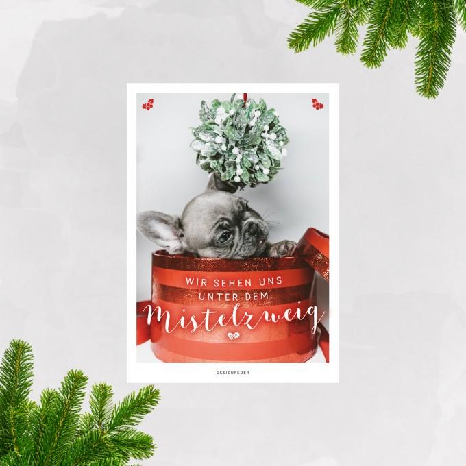 designfeder | Weihnachts-Postkarte Mistelzweig