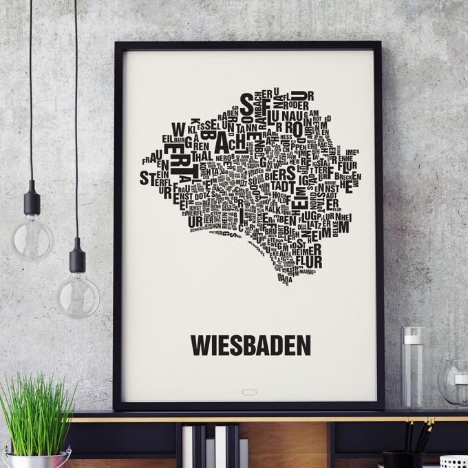 Buchstabenort Wiesbaden Stadtteile-Poster Typografie Siebdruck
