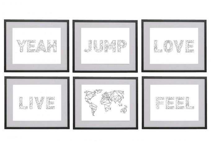 na.hili Set 3 x A3 Print Words... Jump Feel Love Yeah