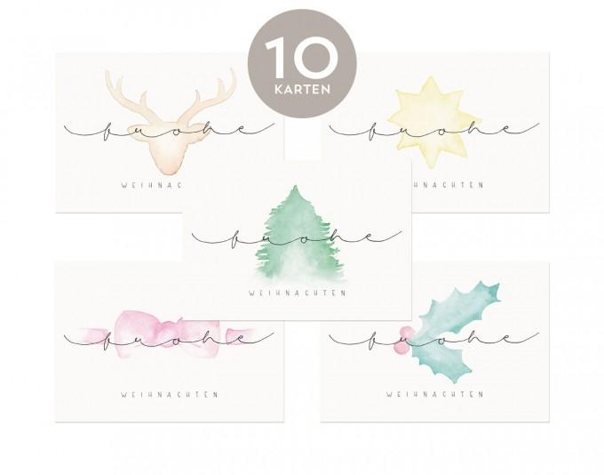 Design Verlag – 10 x Weihnachtskarten mit Wasserfarbe und Handlettering