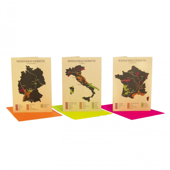 Bow & Hummingbird Grußkarten Weinanbaugebiete